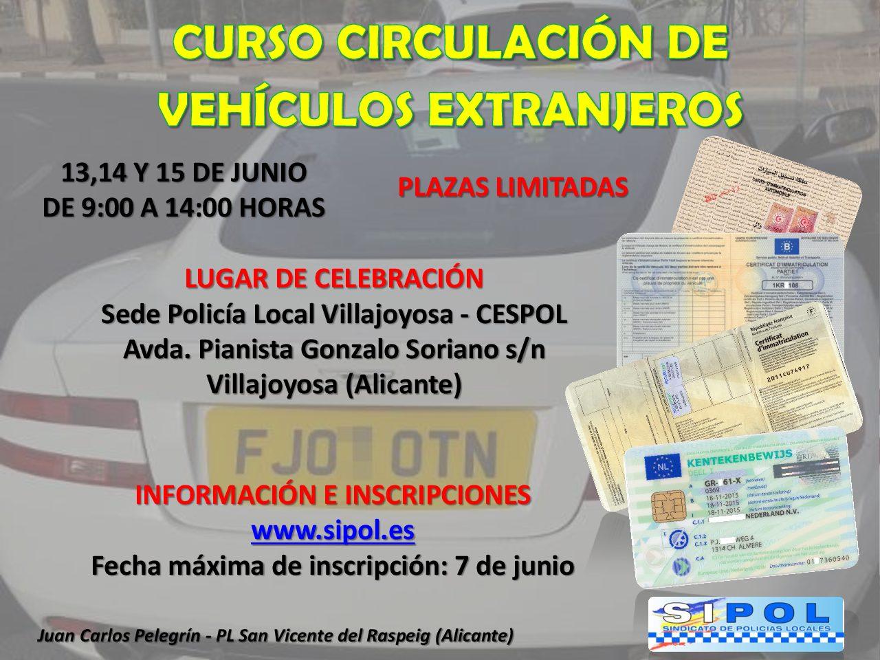 CURSO PRESENCIAL  CIRCULACIÓN DE VEHÍCULOS EXTRANJEROS EN VILLAJOYOSA